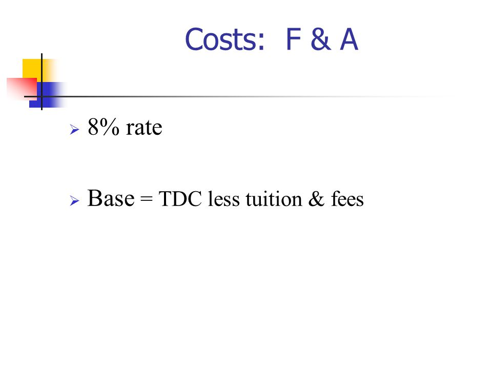 10/27/2002 Costs: F & A 8% rate Base = TDC less tuition & fees