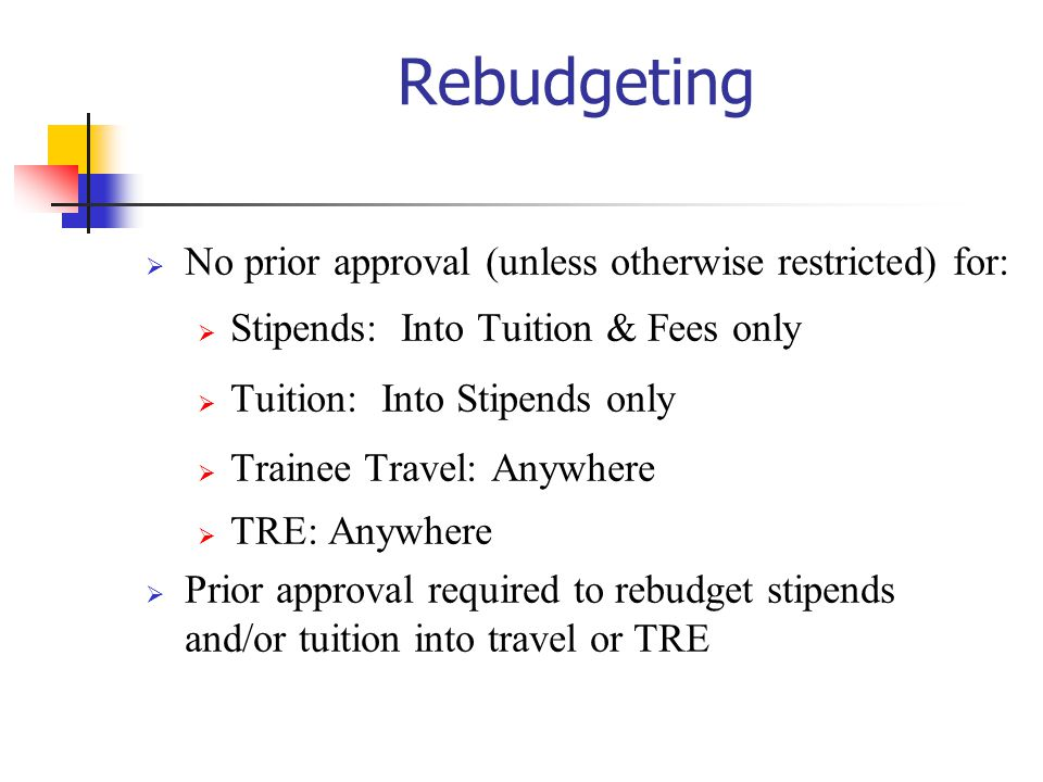 Rebudgeting No prior approval (unless otherwise restricted) for: