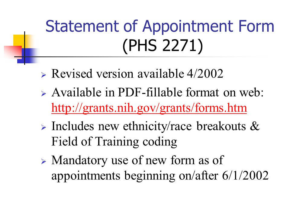 Statement of Appointment Form (PHS 2271)