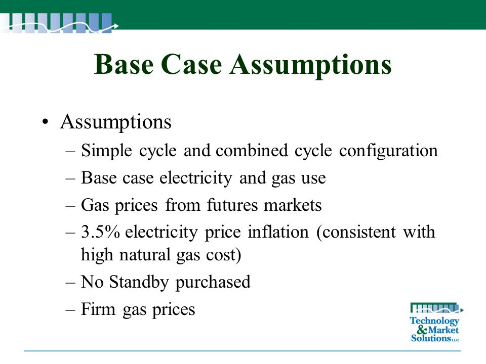 Base Case Assumptions Assumptions