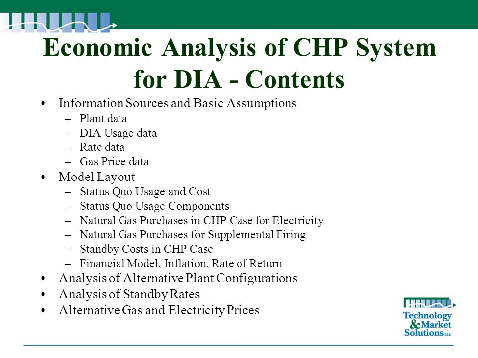Economic Analysis of CHP System for DIA - Contents