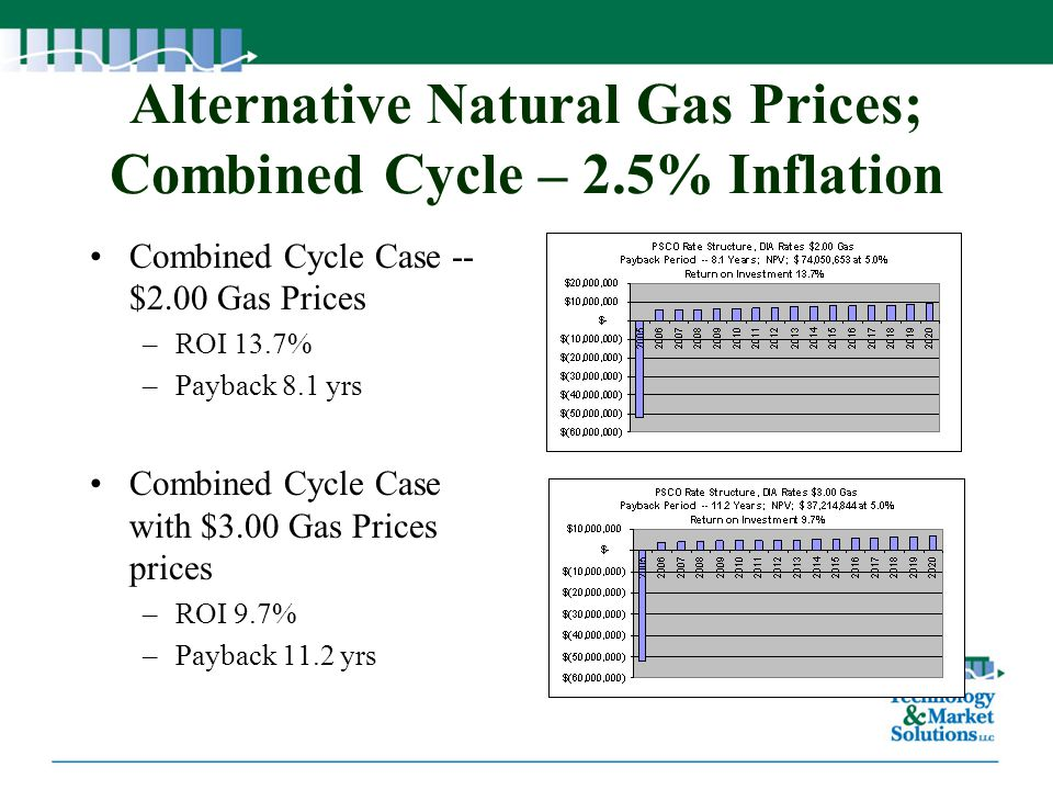 Alternative Natural Gas Prices; Combined Cycle – 2.5% Inflation