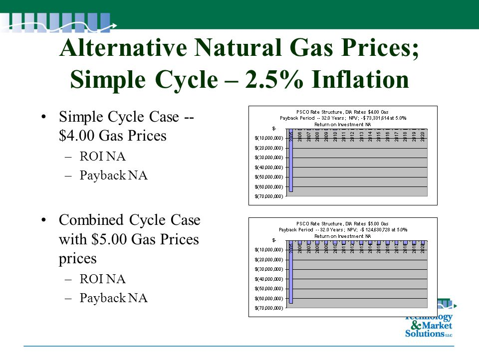 Alternative Natural Gas Prices; Simple Cycle – 2.5% Inflation
