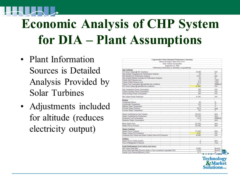 Economic Analysis of CHP System for DIA – Plant Assumptions