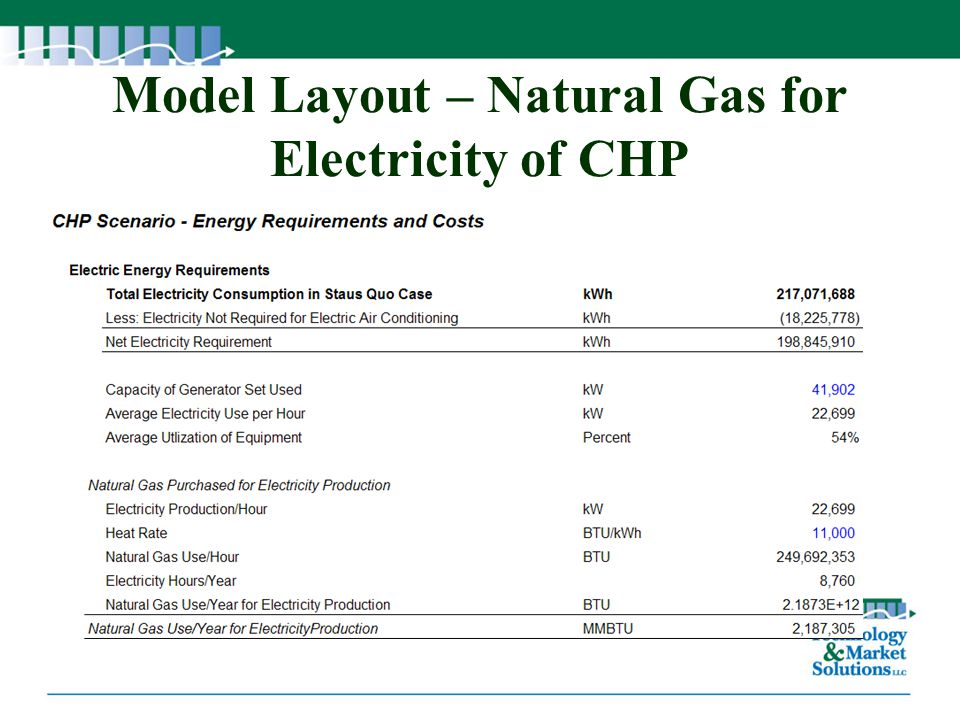 Model Layout – Natural Gas for Electricity of CHP