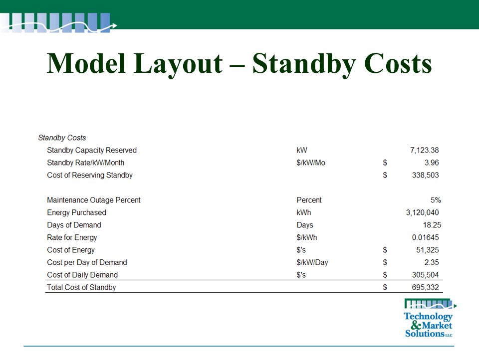 Model Layout – Standby Costs