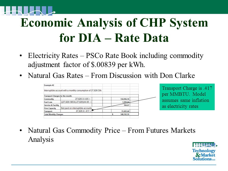 Economic Analysis of CHP System for DIA – Rate Data