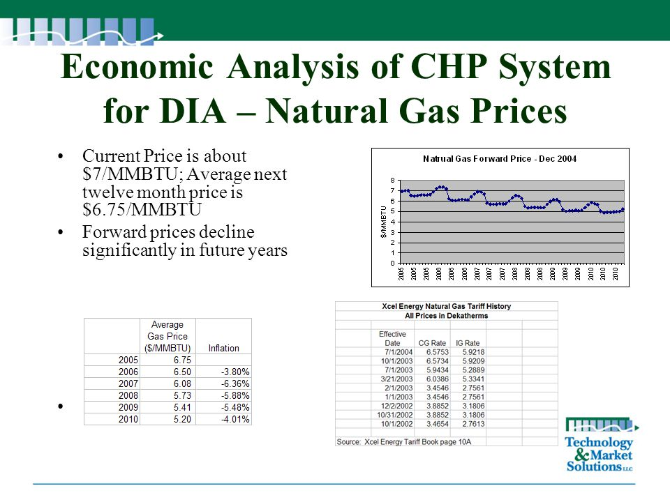 Economic Analysis of CHP System for DIA – Natural Gas Prices
