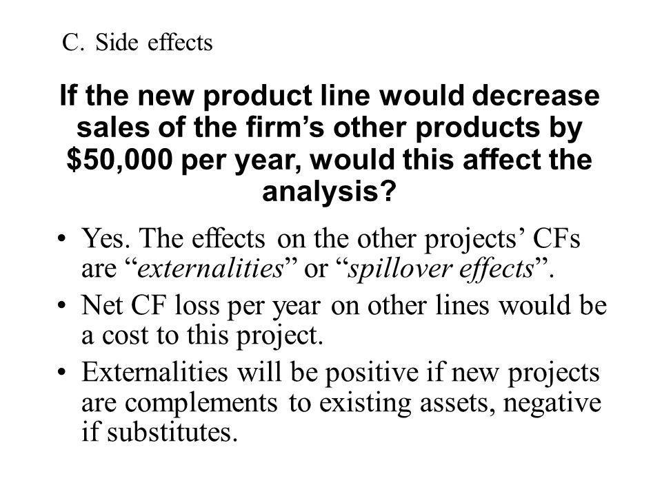 Net CF loss per year on other lines would be a cost to this project.