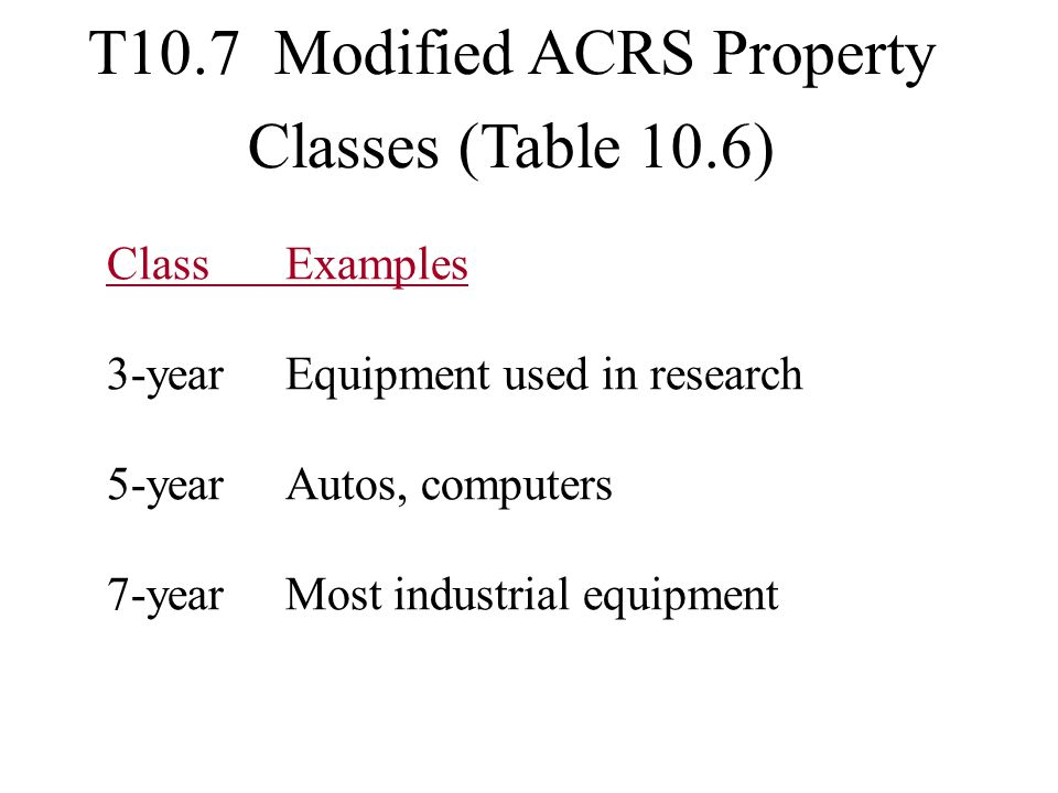 T10.7 Modified ACRS Property Classes (Table 10.6)