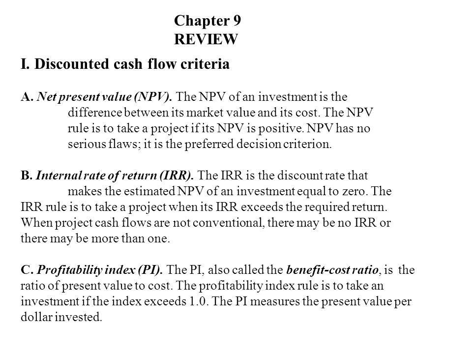 I. Discounted cash flow criteria