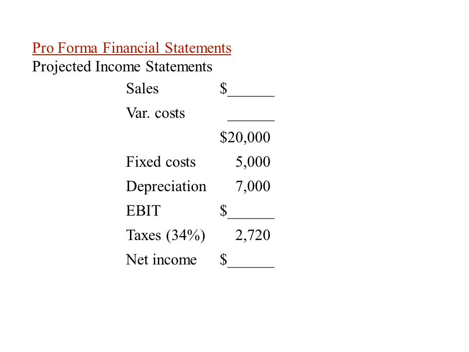 Pro Forma Financial Statements Projected Income Statements