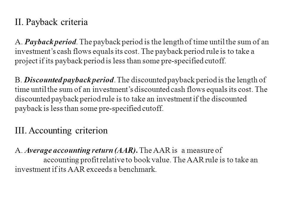 III. Accounting criterion