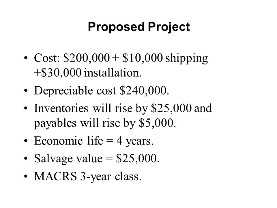Proposed Project Cost: $200,000 + $10,000 shipping +$30,000 installation. Depreciable cost $240,000.