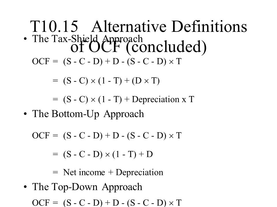 T10.15 Alternative Definitions of OCF (concluded)