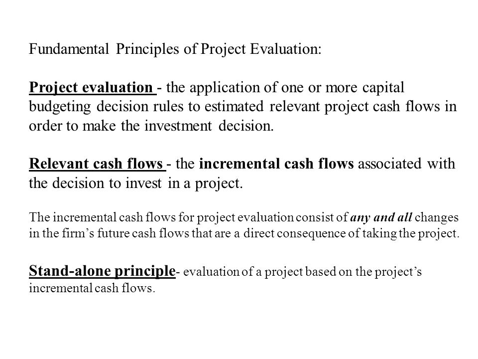 Fundamental Principles of Project Evaluation: