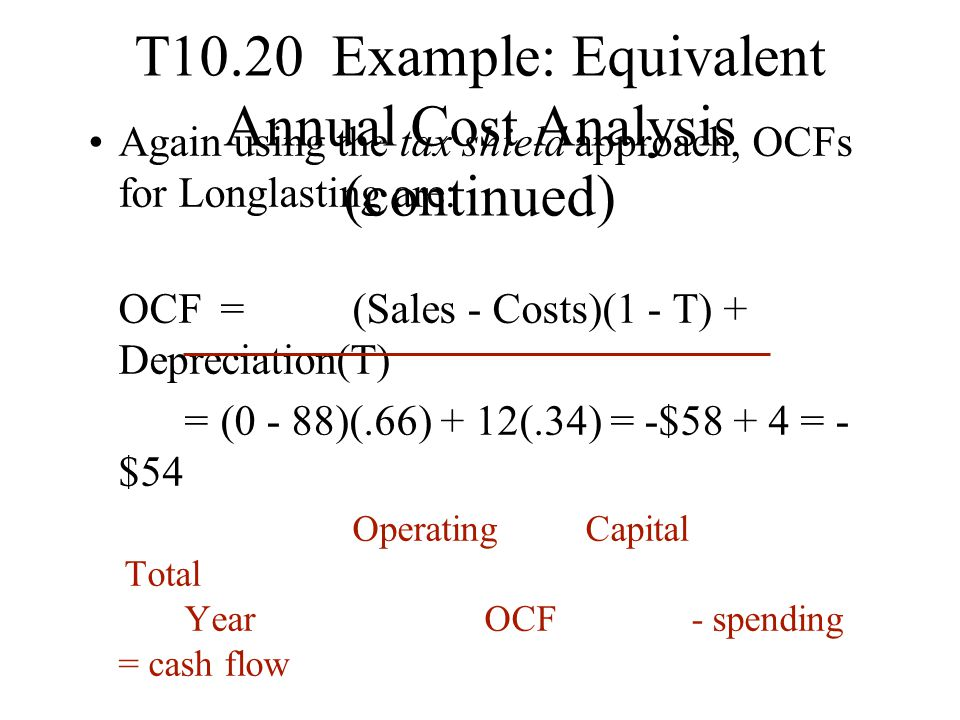 T10.20 Example: Equivalent Annual Cost Analysis (continued)
