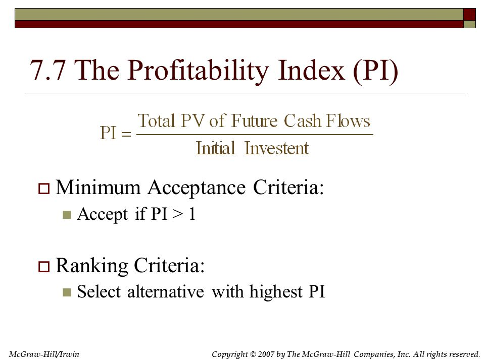 The Profitability Index