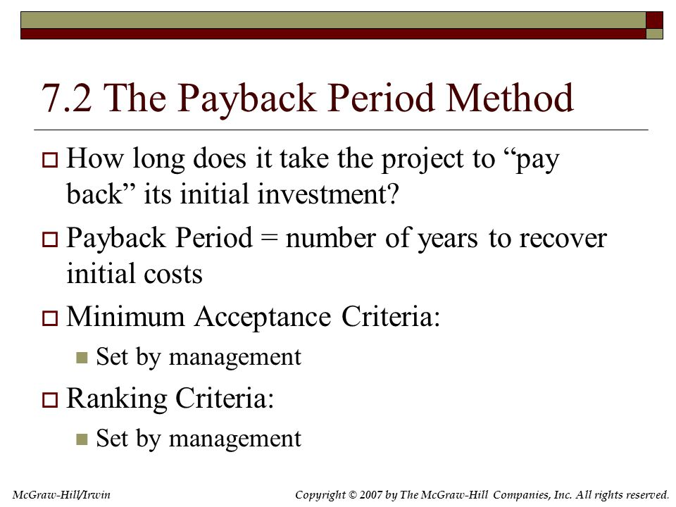 The Payback Period Method