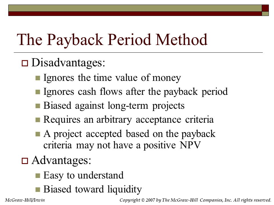 7.3 The Discounted Payback Period