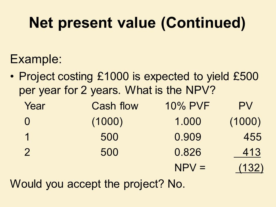 Net present value (Continued)