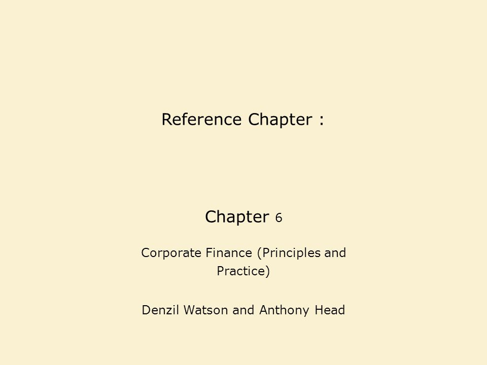Reference Chapter : Chapter 6