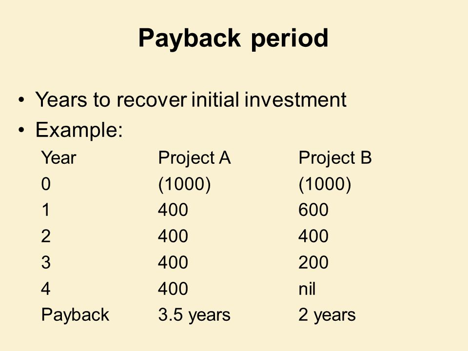 Payback period Years to recover initial investment Example: