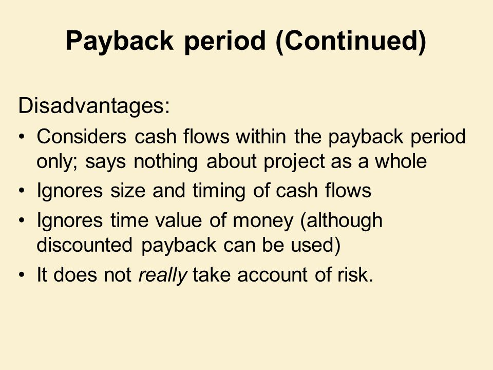 Payback period (Continued)