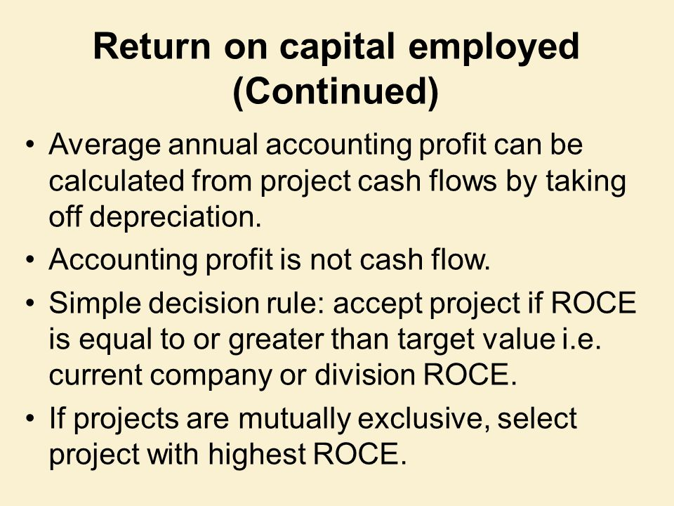 Return on capital employed (Continued)