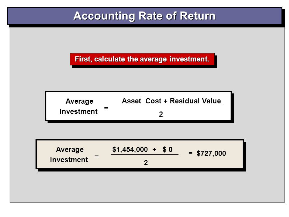 Accounting Rate of Return First, calculate the average investment.