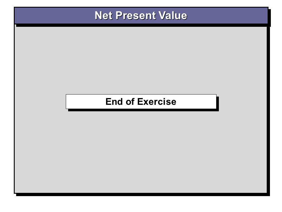 Net Present Value End of Exercise