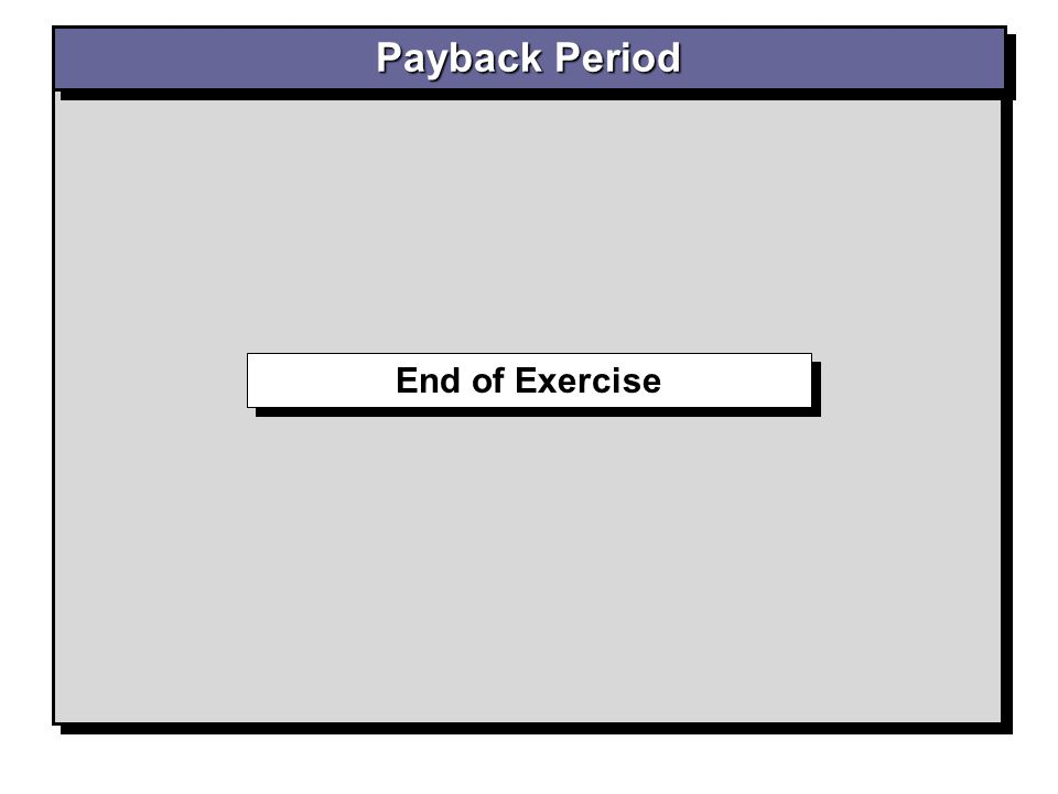 Payback Period End of Exercise