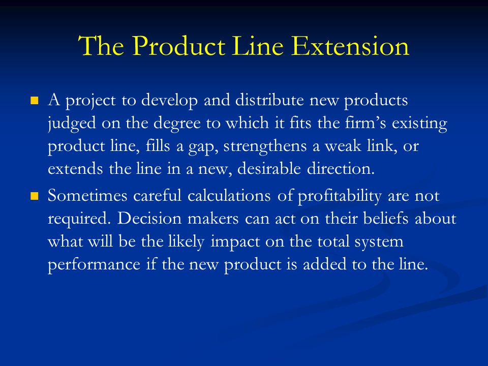 The Product Line Extension