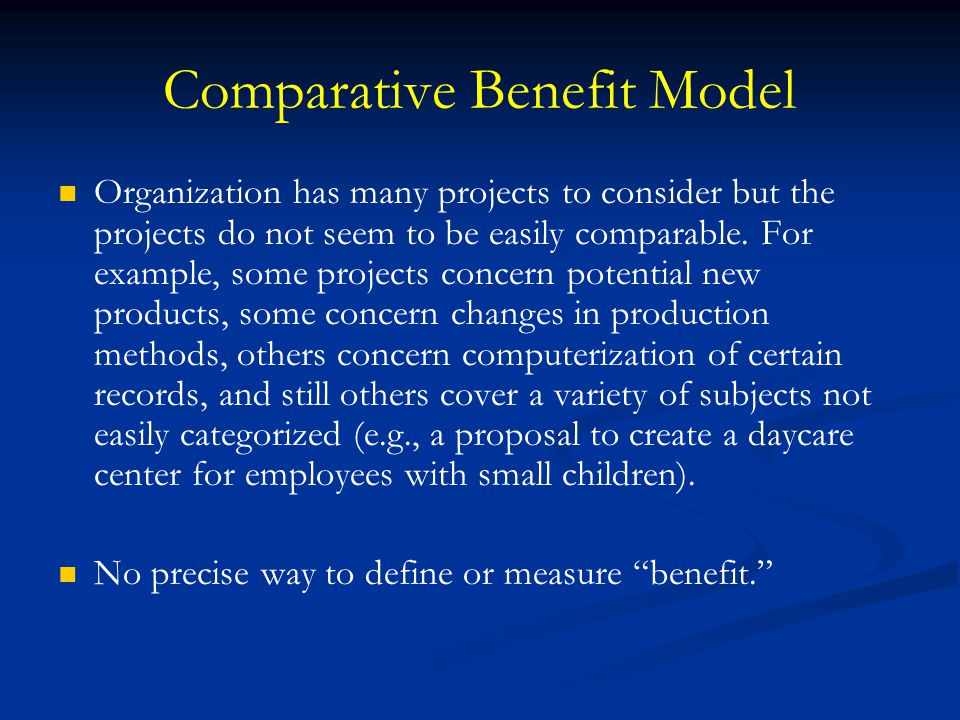 Comparative Benefit Model