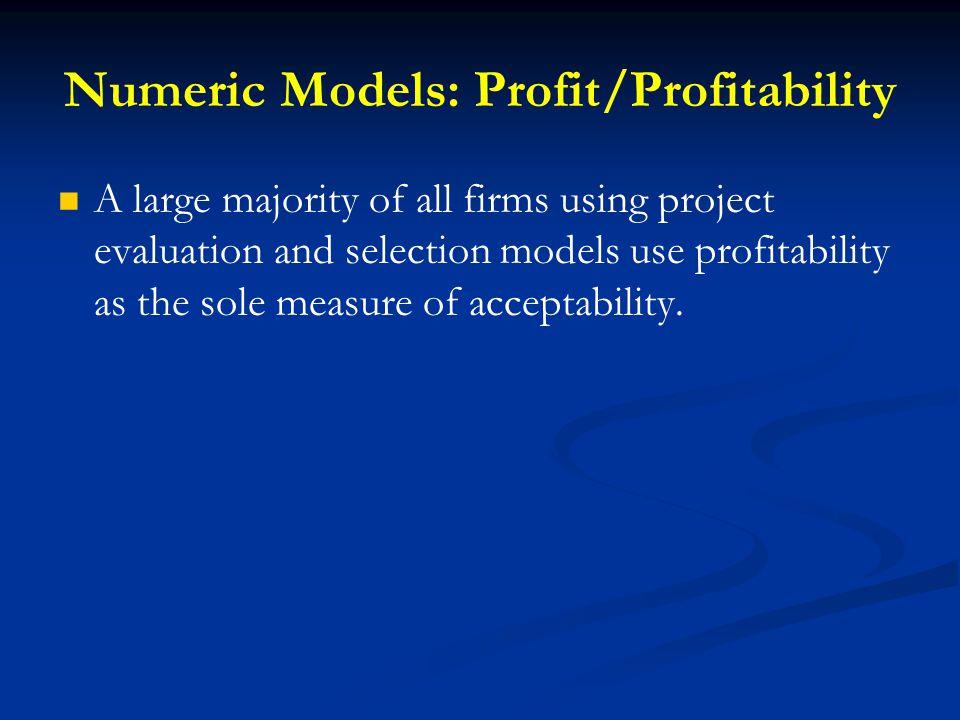 Numeric Models: Profit/Profitability