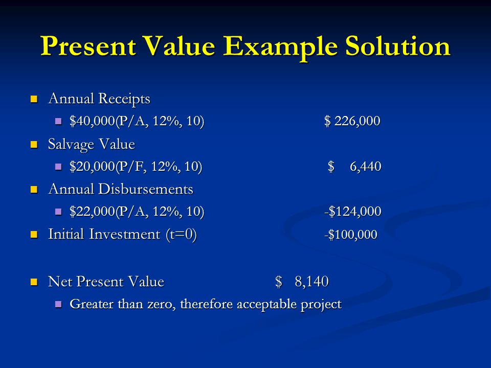Present Value Example Solution