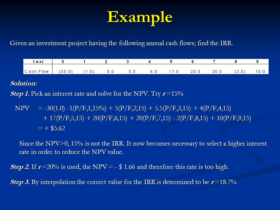 Example Given an investment project having the following annual cash flows; find the IRR. Solution: