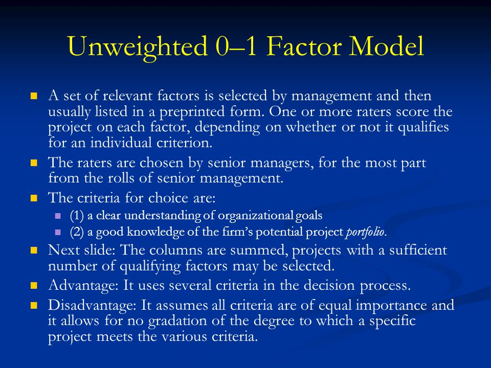 Unweighted 0–1 Factor Model