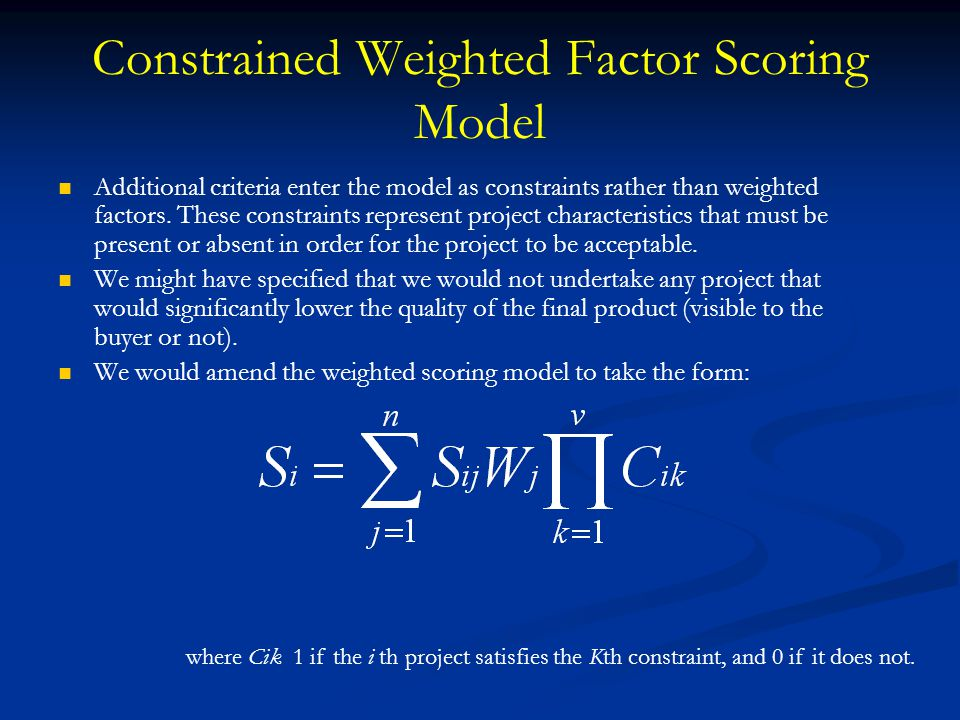 Constrained Weighted Factor Scoring Model