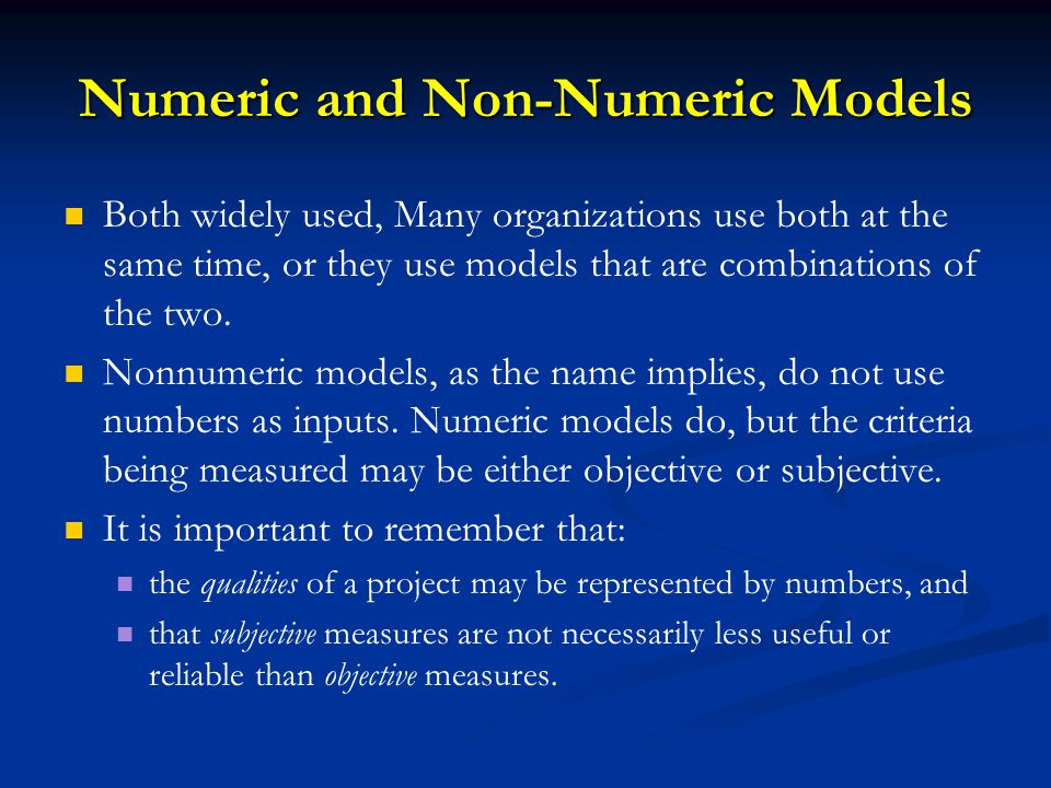 Numeric and Non-Numeric Models