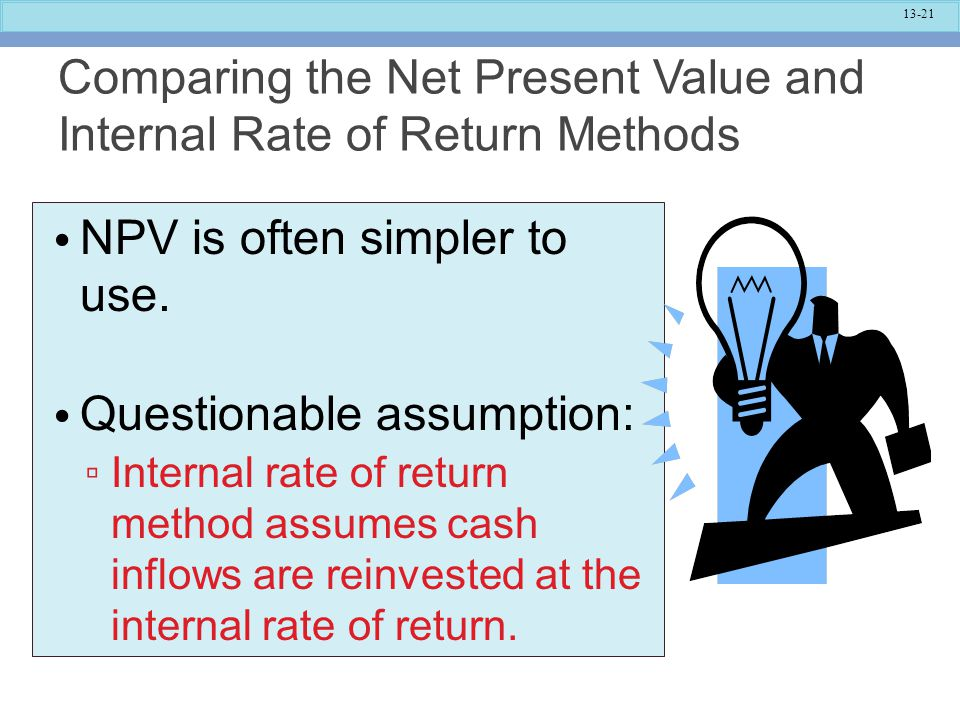 Comparing the Net Present Value and Internal Rate of Return Methods
