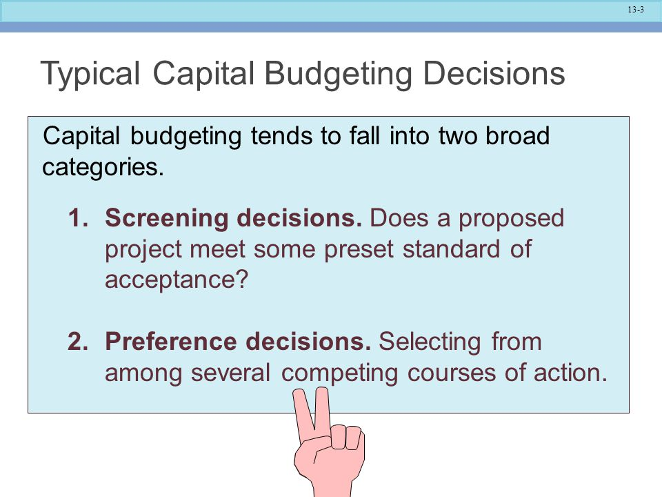 Typical Capital Budgeting Decisions