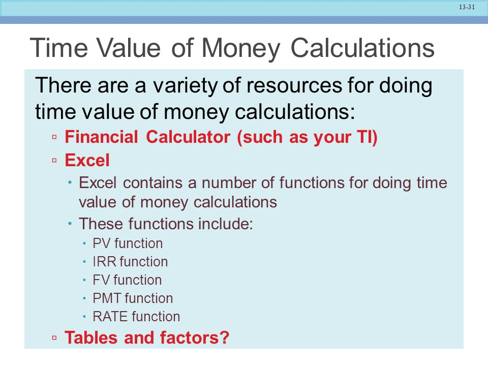 Time Value of Money Calculations