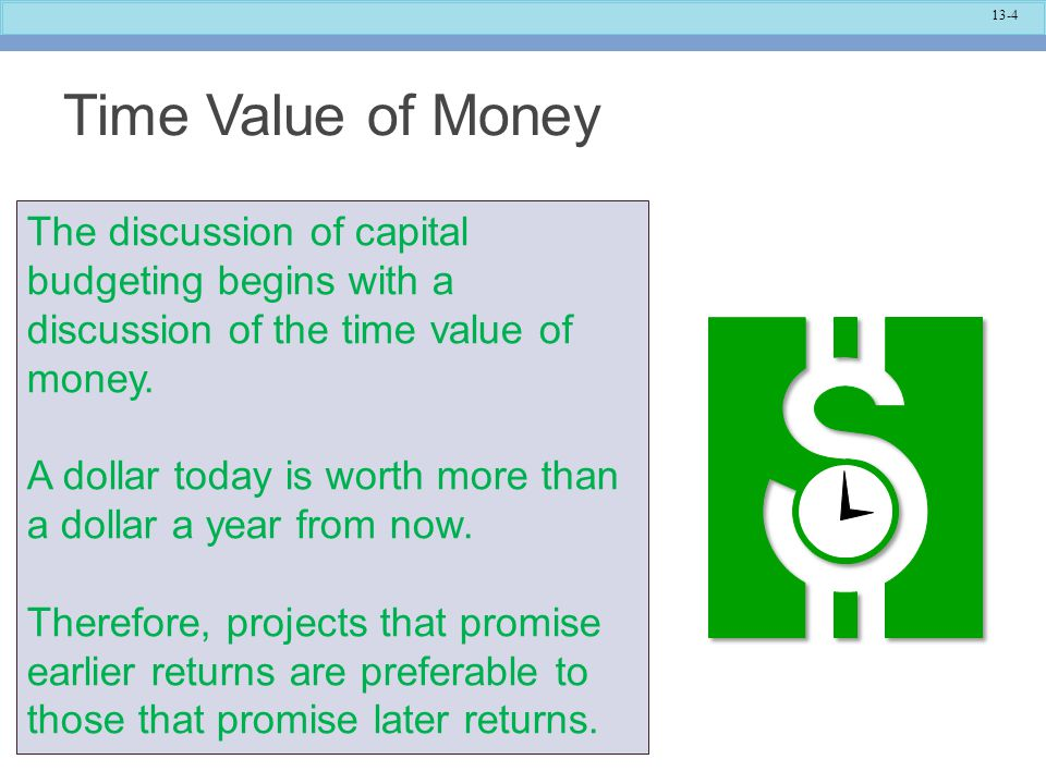 Time Value of Money The discussion of capital budgeting begins with a discussion of the time value of money.