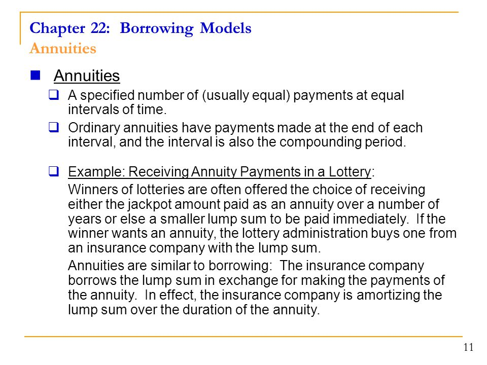 Chapter 22: Borrowing Models Annuities