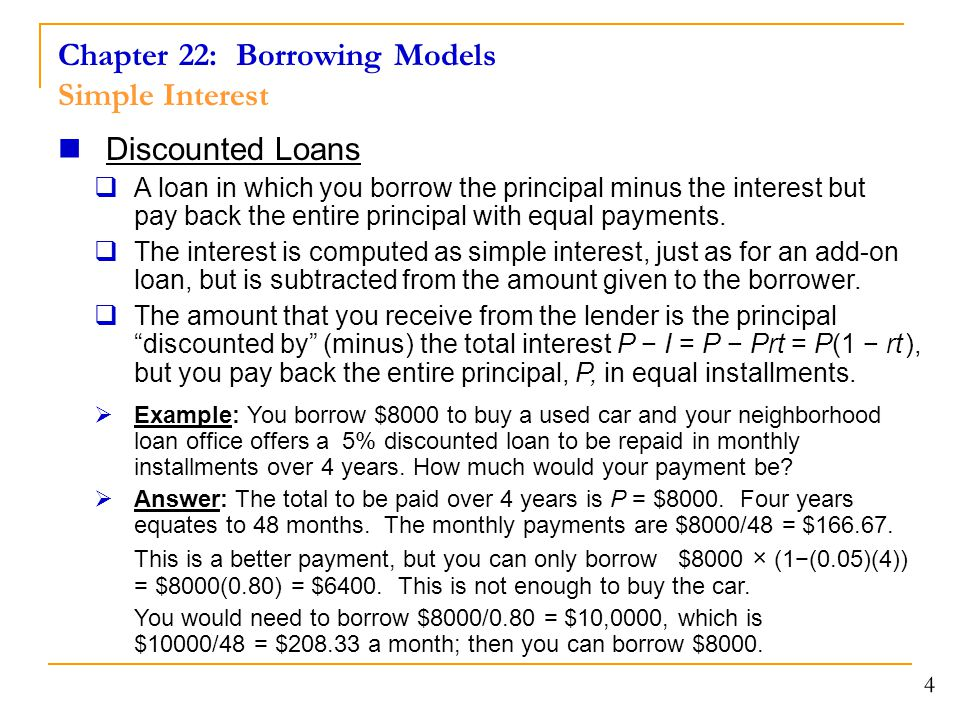 Chapter 22: Borrowing Models Simple Interest