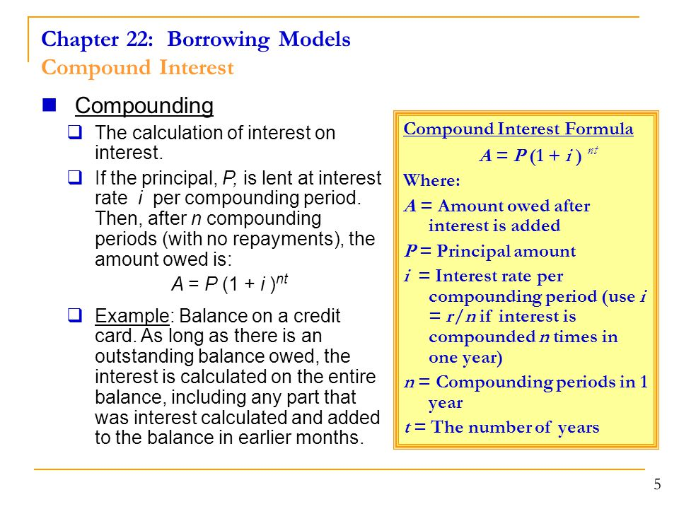 Chapter 22: Borrowing Models Compound Interest
