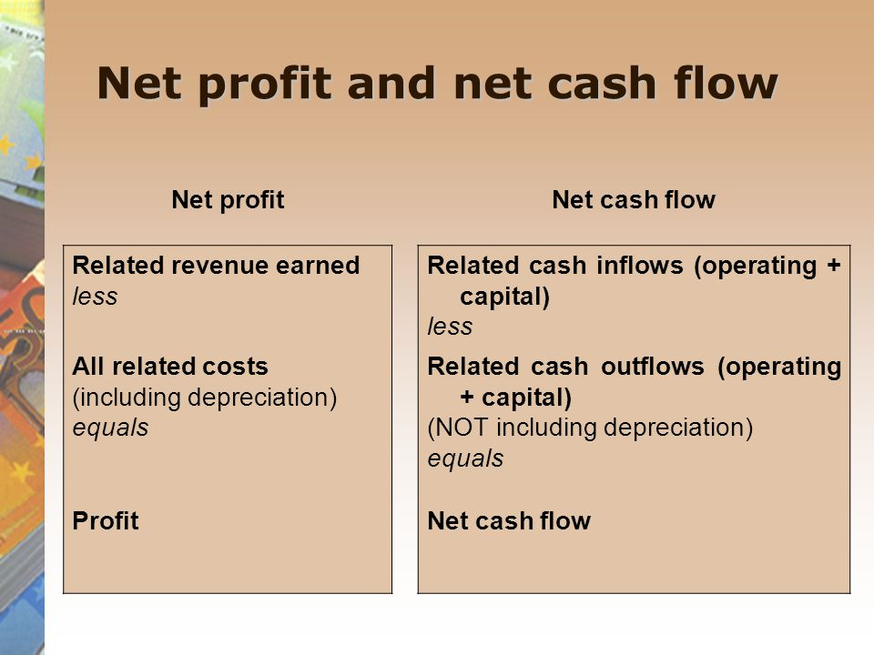 Net profit and net cash flow