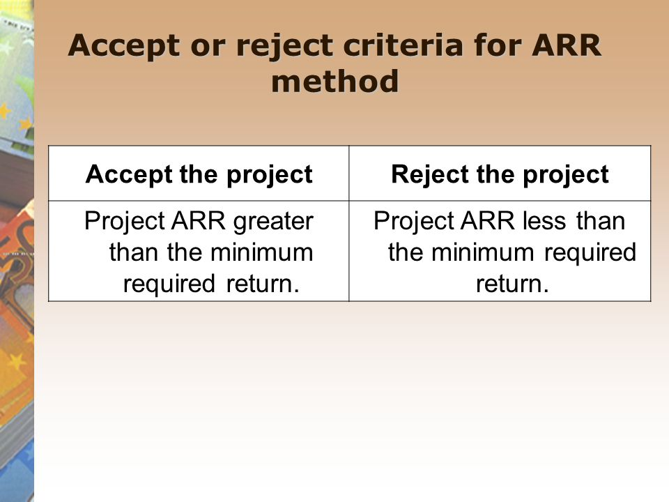 Accept or reject criteria for ARR method