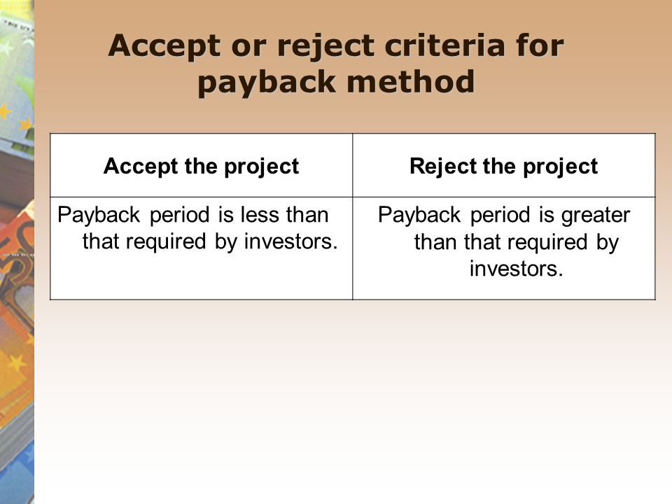 Accept or reject criteria for payback method